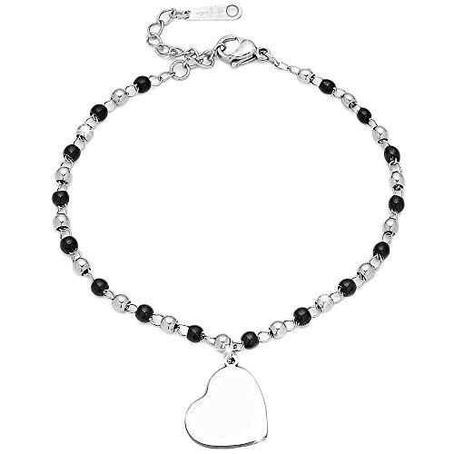 Beloved Bracciale funny stile rosario in acciaio colore silver e nero con charm a tema, lunghezza regolabile chiusura con moschettone, alta qualità (C