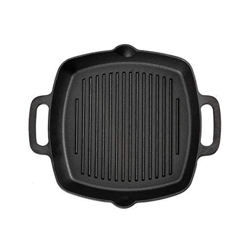 HDHUIXS Parrilla de hierro fundido Pan Pandet Plaza para la estufa superior y horno, Pan de la parrilla de 13 pulgadas, Calidad del chef Perfecto para carnes Filetes Pescado y verduras