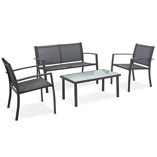 XUHAHAZNSH Set di mobili da Giardino a 4 posti con 2 * poltrone, 1 * Divano con Doppia Sedia, 1 * tavolino in Vetro Set da Pranzo per mobili da Esterno
