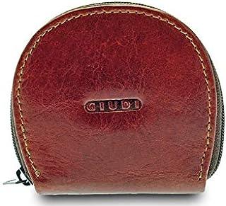 GIUDI ® portafoglio in pelle vacchetta, vera pelle, uomo donna unisex, portamonete in pelle, Made in Italy (Marrone)