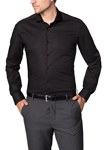 ETERNA Hemd SLIM FIT Stretch unifarben, Schwarz, Gr.- W42 Langarm