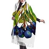 Bufanda de mantón, Bufanda de invierno unisex con sensación de cachemira clásica, rama de aronia, hojas verdes, bayas azules, negras, largas, grandes, cálidas, bufandas envueltas, estola
