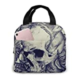 Yuanmeiju Boys Girls Insulated Neoprene Lunch Bag Flower Skull Birds Tote Handbag Lunchbox Food Container Cooler Warm Pouch for School Work Office