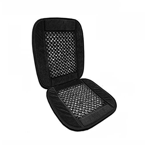 Luxe Zwart Houten Kralen Pluche Fluwelen Seat Cover Premium Kwaliteit Ultra Comfort Massage Cool Autostoel Kussen 35 x 17 inch (Color Name : Black)