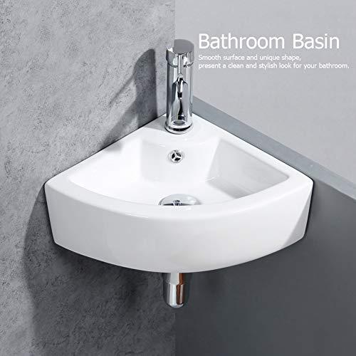 Eckwaschbecken aus Keramik, Aufsatzwaschbecken Waschbecken für Haus, Hotel, Villa, Restaurant, 33 x 33 x 13 cm, Weiß