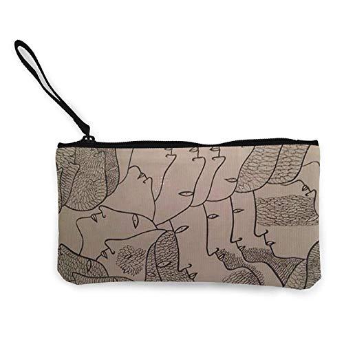 XCNGG Monederos Bolsa de Almacenamiento Shell Avant Garde Art People Faces Canvas Coin Purse with Zipper Coin Wallet Multi-Function Small Purse Cosmetic Bags For Women Men