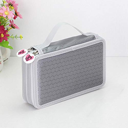 36/48/72 Holes School Pencil Case Kawaii Penalty Pencilcase Large Pen Bag Box Multi Kids Multifunction Stationery Pouch,Gray-2 Layers