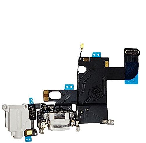 Smartex Conector de Carga de Repuesto Compatible con iPhone 6 6G Blanco – Dock de repeusto con Cable Flex, Altavoz, Antena, Micrófono y Conexión Botón de Inicio.