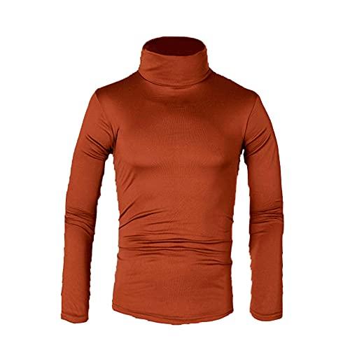 Hombres Camisetas Suéter Color Sólido Cuello Alto Camisetas Masculino Slim Fit Manga Larga Camisetas Hombres Tops