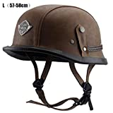Juhon オートバイのためのヘルメット レトロハーフクルーズヘルメット プリンスヘルメットヴィンテージ オートバイ 黒 茶色 M 55-56cm L 57-58cm XL 59-60cm