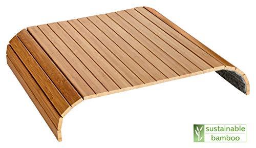 Green'n'Modern Sofatablett aus Holz Bambus | Holztablett als Auflage Sofaauflage für Sofa und Sitzmöbel | Armlehnentablett Sofamatte (Natur)
