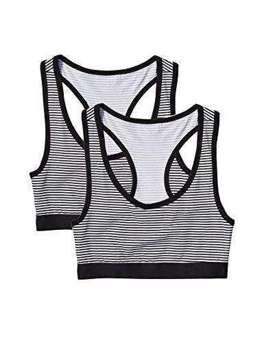 Amazon-Marke: Iris & Lillly Damen sportlich geschnittenes Top, 2er-Pack, Mehrfarbig (Print Stripes), 36(Herstellergröße: S)