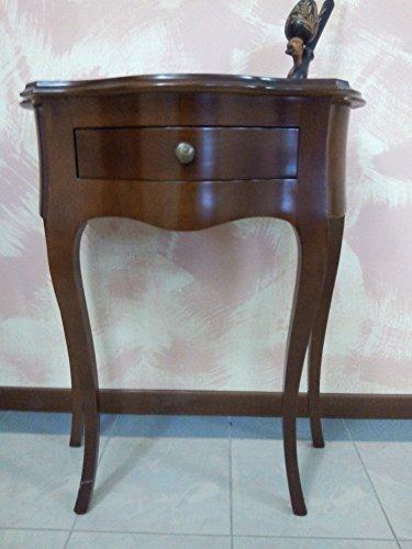 Console de table d'entrée en bois avec 1 tiroir en noyer moulé provençal