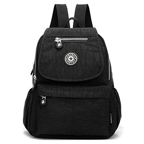XUEREY Women's Small Handbag Nylon Shoulder Bag Casual Day Pack Multi-Pocket Casual Waterproof Nylon Bags Travel School Bag Laptop Backpack (Black)