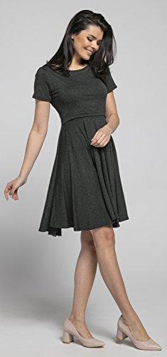 Happy Mama Damen Umstands Stillkleid Midi Schaukel Kleid Kurzarm.084p (Graphit Melange) - 7
