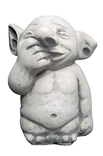 gartendekoparadies.de Figure de Pierre Massive Troll Doigt dans Le Nez GNOME Lutin Gobelin en Pierre reconstituée, résistant au Gel