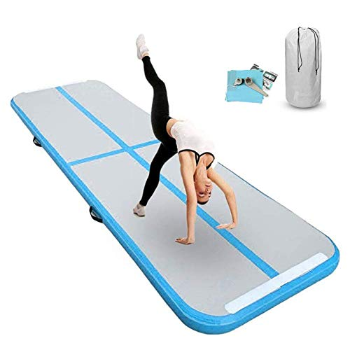 FBSPORT 20cm hoch Verdicken 4M Aufblasbar Gymnastik Tumbling Matte Air Track,Trainingsmatte mit Luftpumpe,Gymnastikmatte mit Tragetasche,airtrack Tumbling für zuhause, Outdoor,Yoga usw