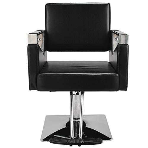 Barber Stoelen - Swivel Reclining Stoel Kappers Kapper Snijden Salon Stoelen| Verstelbare, Lederen stijl - Zwart