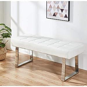 Greneric Banco zapatero moderno minimalista de piel sintética, color blanco