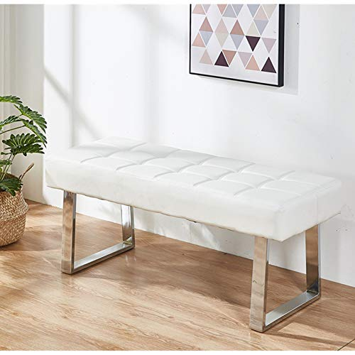 Greneric Sitzbank Schuhbank Sofabank Moderne Bettbank minimalistische Ruhebank SitzBank Kunstleder Lange Bank Weiß (White)