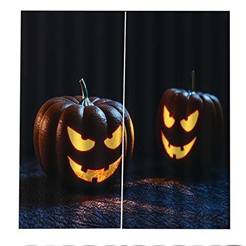 FACWAWF Tende Decorative 3D Zucca di Halloween Stampa Lampada Isolamento Acustico E Protezione UV Soggiorno Camera da Letto Balcone Camera dei Bambini Tende Decorative 2xW140xH245cm