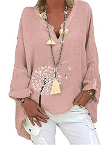 Damska lniana bluzka oversize Elegancka bluzka z nadrukiem w motyle Lniana bluzka z dekoltem w serek Topy Tunika Luźne długie bluzki (Color : Pink, Size : XXXX-Large)