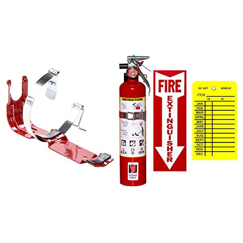 ABC Fire Extinguisher 2.5 Lb Dry Chemical, Strike First With Vehicle Bracket, Sign And Inspection Tag
