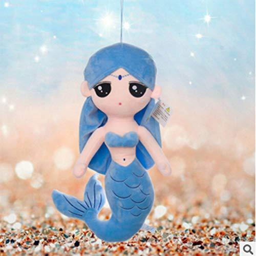 WLYY Neues Plüschtier Meerjungfrau Puppe Aquarium Kindergeschenke kreative Cartoon Meerjungfrau Puppe Kissen 30cm blau
