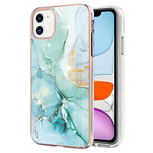 FHXD Compatible con Funda iPhone 11 Elegante Oro Glitter Brillar Mármol Diseño Caso Ultra Thin Antigolpes Suave Silicona TPU Bumper Cáscara-Verde 003