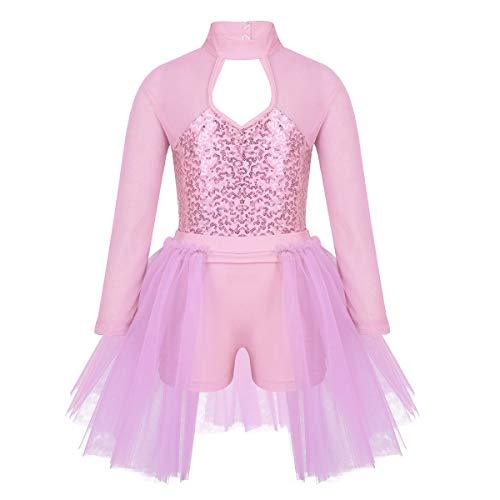 inhzoy Maillot de Patinaje Artístico Lentejuelas para Niña Manga Larga Leotardo de Ballet Gimnasia Rítmica con Falda Tutú Vestido Danza Bailarina Rosa 7-8 Años