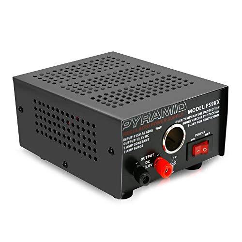 Universal Compact Bench Power Supply - 5 Amp Linear Regulated Home Lab Benchtop AC-to-DC Converter w/ 13.8 Volt DC 115V AC 70 Watt Input, Screw Type Terminal, 12V Car Cigarette Lighter - Pyramid PS9KX
