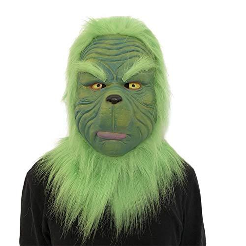 Maschera Grinch Puntelli per costumi di Natale Maschera in lattice spaventoso Maschera in lattice verde Maschera a testa piena Accessori per costumi per adulti