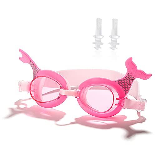 Gafas de Natación para niños, Gafas para Niños Impermeables a Prueba de Fugas, Dibujos animados Gafas natacion Niño de Montura de Silicona Suave con Correa Ajustable para Niños Edad 3~15