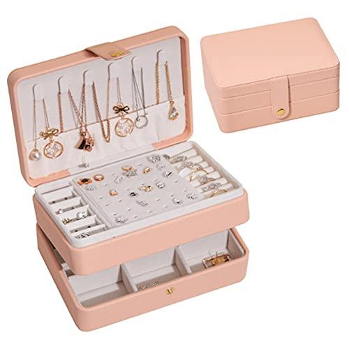 bnv Organizador de joyería portátil collar pendientes anillos caja de joyería embalaje almacenamiento de cuero de la PU