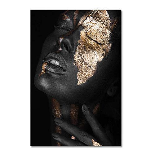 YWOHP Pinturas de Carteles de Mujeres Negras africanas en Lienzo y Pinturas murales de Carteles de Pinturas de decoración del Dormitorio de la Sala de Estar No. FRAME-100X150cm_Unframed_DM462-18