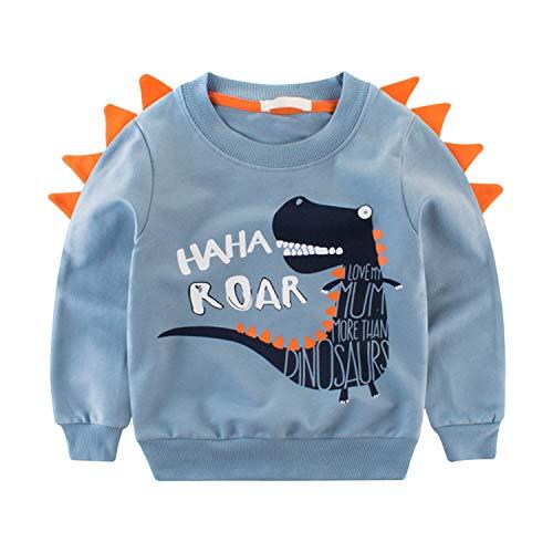 De feuilles Sweat-Shirt Bébé Gaçcon en Coton Manches Longues Col Rond Sweatshirt Enfant Motif Imprimé Animal Mignon et Confortable Bleu 3-4 Ans (Tour de Poitrine 70 cm)