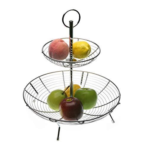 Versa 19530187 Corbeille à fruits en acier chromé à deux hauteurs
