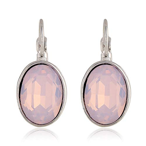 UOUAY Dames Sieraden Oorbellen Ovaal Zirkoon Diamant Drop Oorbellen voor Vrouwen Dames Meisjes Valentines Poeder Eiwit
