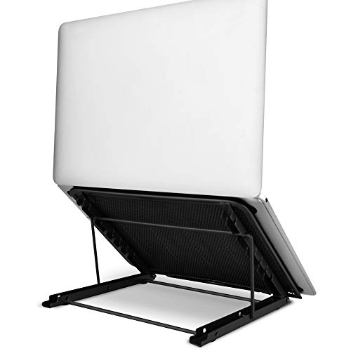 Aigital Computer Stand for Laptop, Foldable Portable Ergonomic Laptop Stand for Desk, 6+4 Levels Adjustable Tray Cooling Laptop Riser Notebook Holder Stand, Compatible with 7-15.6' Laptops