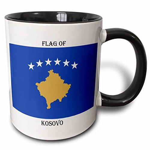 3dRose Flagge von Kosovo-Two Ton Becher, Keramik, Schwarz, 10.16cm x 7,62x-Uhr