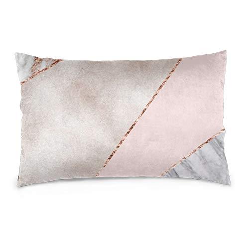 Lesif Fundas de cojín de terciopelo, rectangulares, suaves y decorativas, para sofá, dormitorio, coche, 40,6 x 60,9 cm (mármol de oro rosa mezclado)