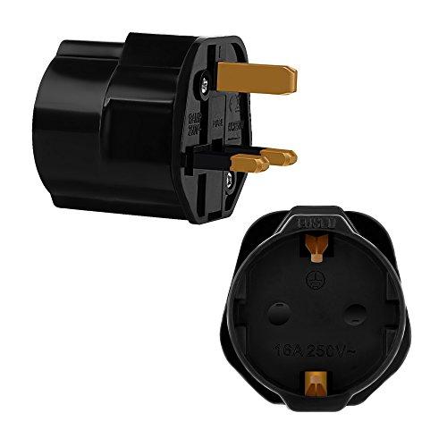 Incutex 1x Reisestecker UK GB England Travel Adapter EU Schuko 2-Pin auf UK 3-Pin Reise Steckdosenadapter Typ G, schwarz