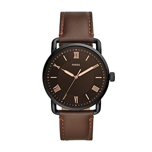Fossil Men's Copeland Quartz Leather Three-Hand Watch, Color: Black/Black Dial, Brown (Model: FS5666)