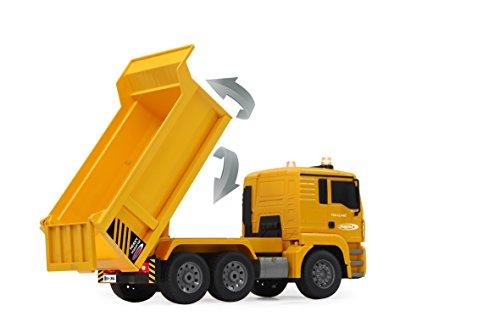 RC Auto kaufen Baufahrzeug Bild 4: Jamara 405002 - Muldenkipper MAN 1:20 2,4G - Kippmulde hoch / runter, realistischer Motorsound, Hupe, Rückfahrwarnsound, 4 Radantrieb, gelbe LED Signallichter, programmierbare Funktionen*