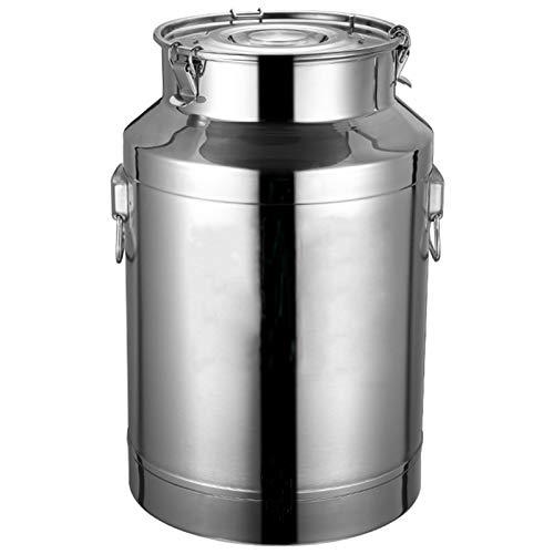 Heavy Duty Farm Milk Can with Sealed Lid 201 Stainless Steel Wine Pail Dairy Pot Bucket Milk Transport Barrels Tote Jug Milk Bottle Tea Canister for Liquid Storage24L