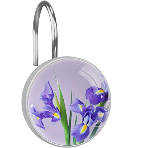 CSLFC Juego de 12 anillos redondos de cristal de cristal, diseño de flores de iris de la naturaleza, color morado y violeta claro, ganchos decorativos para cortina de ducha de acero inoxidable