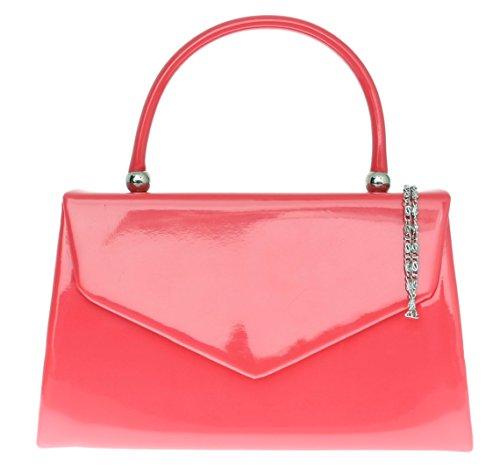 Bolso de mano Girly diseño de Nude, color amarillo, tamaño pequeño, diseño famoso, color Rosa, talla W 23, H 15, D 7 cm