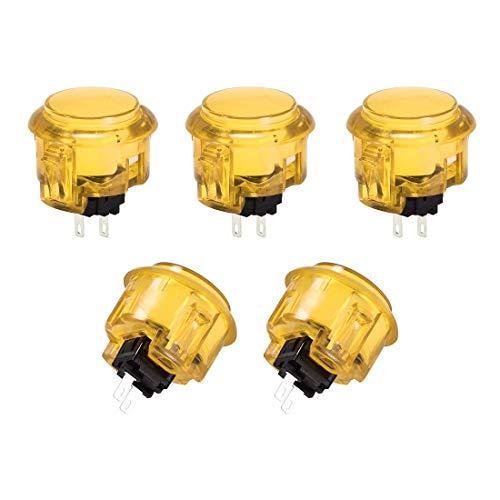 YeVhear - Agujero de montaje con botón pulsador de juego momentáneo, interruptor redondo para juegos de vídeo arcada amarillo 5 piezas