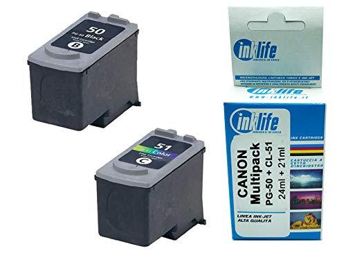 Cartucho Inklife para Canon PG-50 y CL-51 compatible con impresoras Pixma MP150-MP160-MP170-MP180-MP450-MP450x-MP460-iP2200 (negro + color)