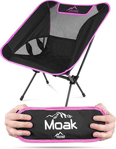 normani Ultraleichter Mini Campingstuhl MOAK 796 g! klappbarer Strandstuhl Anglerstuhl mit Aluminiumgestell - Stabiler Outdoorstuhl - Traglast: 135 Kg (330 lbs) Farbe Pink